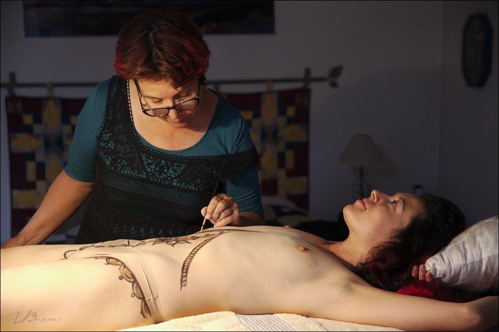 Bodypainting en cours de realisation