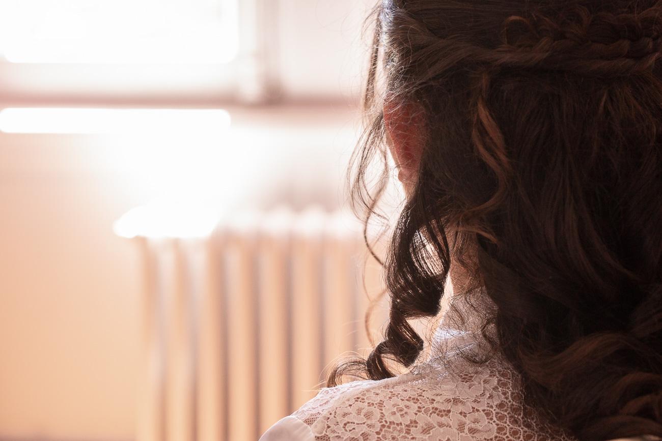 Boucles de cheveux de la mariée