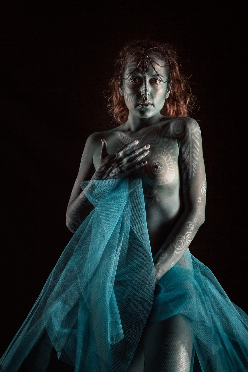 Portrait bodypainting en studio
